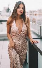 Sheath V Neck Backless Long Rose Gold Sequined Prom Evening Dress JTA8011