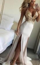 V Neck Open Back Spaghetti Straps Split Long Prom Dress with Lace JTA8021