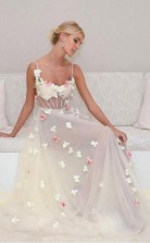 A Line Spaghetti Straps Sweep Train Ivory Tulle Prom Dress with Flowers JTA8041