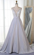 A Line V Neck Sweep Train Grey Satin Prom Dress with Appliques JTA8061