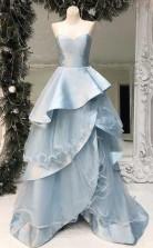 Strapless Light Blue Long Prom Dress Multi-Layered Ruffle Prom Dress JTA8081