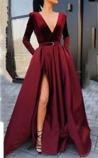 Deep V Neck Long Sleeves Burgundy Floor-Length Prom Evening Dress JTA8121