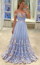 A Line Off-the-Shoulder Light Sky Blue Tulle Prom Dress with Appliques JTA8161