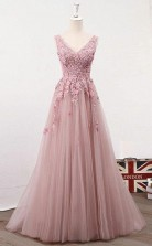 A Line V Neck Pink Tulle Prom Evening Dress with Appliques Beading JTA8171