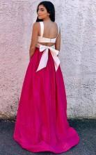 Two Piece Scoop Fuchsia Satin Prom Formal Dress with Bowknot JTA8221