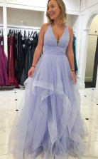 Pink Ruffled Tulle Long Prom Evening Dress with Criss Cross Back JTA8231