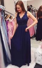 Navy Blue Beading Chiffon Long Prom Dress with Open Back JTA8281