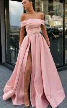 Off the Shoulder A Line Sweep Train Split Front Pink Prom Dress with Belt JTA8301