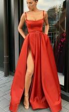 Spaghetti Straps A Line Sweep Train Split Red Pockets Prom Dress with Belt JTA8311