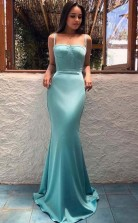 Mermaid Spaghetti Straps Sleeveless Blue Long Prom Dress JTA8331