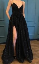 Spaghetti Strap Black Sparkle Popular Long Prom Evening Dress JTA8351