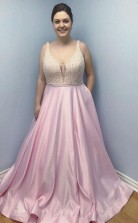 Simple Pink Satin Long Prom Dress with Pockets Beaded Plus Size JTA8381