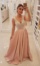 Elegant Blush Pink Long Prom Dress Unique Pearls Bodice Evening Dress  JTA8411