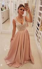 Elegant Blush Pink Long Prom Dress Unique Pearls Bodice Evening Dress  JTA8411