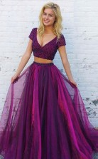Two Piece V Neck Short Sleeves Purple Tulle Prom Dress with Beading JTA8421