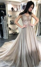 A Line Sleeveless Beaded Silver Long Prom Dress Formal Dress JTA8501