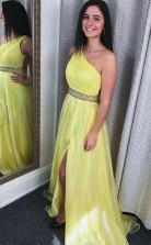 Classic One Shoulder Ruched Yellow Long Prom Formal Dress JTA8561