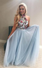 High Neck Tulle Sky Blue Long Prom Formal Dress with Embroidery JTA8601