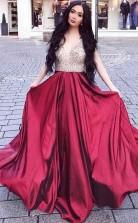Sleeveless A Line Beaded Burgundy Long Prom Evening Dress JTA8621