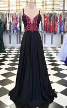 A Line Satin Spaghetti Straps Floral Appliques Black Long Prom Dress JTA8631