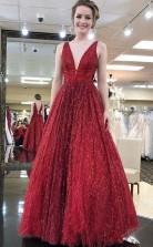 Shop Elegant V neck Tulle Sequins Burgundy Long Prom Party Dress JTA8641