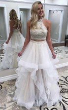 Gorgeous Two Piece High Neck Tulle Ivory Long Prom Dress With Beads  JTA8651
