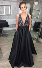 Fashion Deep V Neck Black Satin Long Prom Dress with Pockets JTA8671