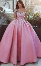 Ball Gown Off-the-Shoulder Pink Satin Prom Dress with Appliques JTA8701