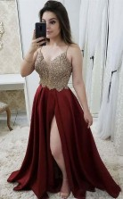 Strap A Line Maroon Long Beaded Prom Dress with Split and Gold Lace JTA8711
