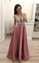 A Line Beading Satin Prom Dress V Neck Sleeveless Cheap Prom Dress JTA8721