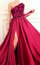A Line Burgundy  Applique Long Sleeve One Shoulder Prom Dress With Split  JTA8731