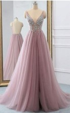 Dusty Pink Sparkly V Neck A Line Tulle Long Prom Evening Dress  JTA8751