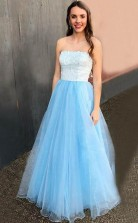 A Line Strapless Floor-Length Light Blue Prom Dress with Lace Beading JTA8761