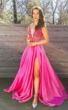 A Line V Neck Appliques Fuchsia Beading Long Prom Dress with Slit JTA8841