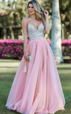 Spaghetti Straps Backless Beading Pink Long Prom Evening Dress JTA8851