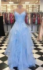 Sky Blue Ruffle Skirt Prom Dress Spaghetti Strap Junior Prom Dress   JTA8891
