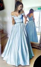 Simple A Line Off the shoulder Blue Long Prom Dress with Pocket  JTA8941