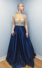 A Line V Neck Backless Sweep Train Dark Blue Satin Prom Dress with Beading JTA8951