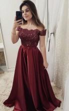 Chic Burgundy Off Shoulder Floor Length Satin Lace Prom Dress  JTA8971