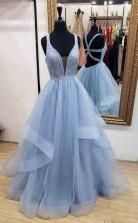 A Line Blue Long Prom Dress Deep V Neck Tulle Party Dress JTA9001