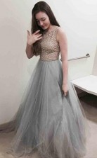 A Line Bateau Sweep Train Grey Tulle Prom Dress with Appliques Beading  JTA9051