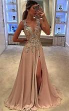 A Line Deep V Neck Floor Length Chiffon Prom Dress with Appliques  JTA9061