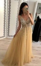 Charming A Line Tulle V Neck Floor Length Prom Evening Dress Beads  JTA9071