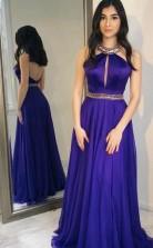 A Line Halter Grape Chiffon Backless Prom Dress With Beading  JTA9101