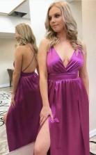 A Line Silk Satin V Neck Sexy Prom Dress New Style Side Slit  JTA9111