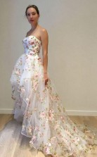 A Line White High Low Strapless Tulle Appliques Prom Dress JTA9131