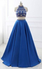 A Line Royal Blue Satin Two Piece Halter Backless Prom Dress With Crystal JTA9161