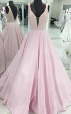 Pink Satin Deep V Neck Sleeveless Open Back Long Prom Dress JTA9181