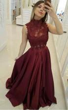 Burgundy High Neck Lace Bodice Princess Floor Length Long Prom Dress JTA9211