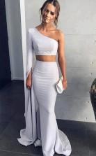 New Style Mermaid Two-Piece Asymmetrical Long Prom Evening Dress JTA9251